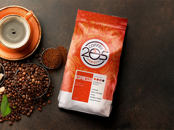 coffee bags on background espresso